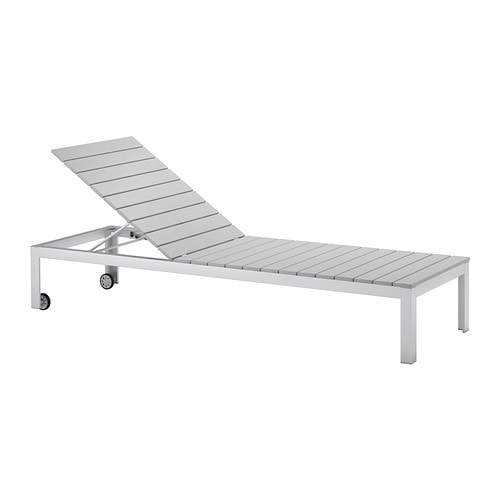 FALSTER Sun lounger IKEA The back can be adjusted to six different positions.  Wheels make it easy to move.