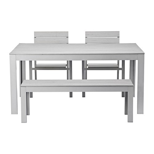 FALSTER Table+2 chairs+ bench, outdoor IKEA The polystyrene slats are weather-resistant and easy to care for.