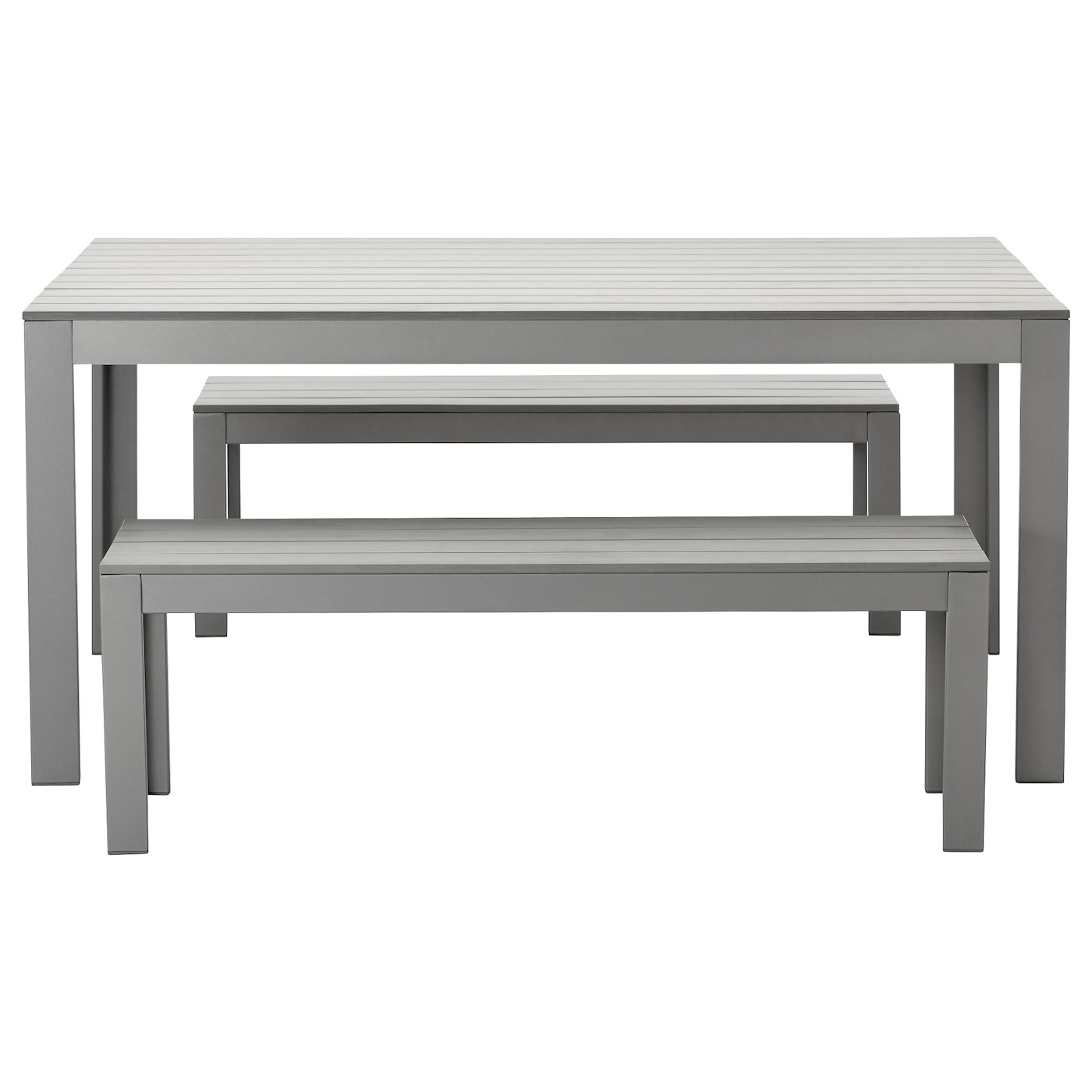 Falster table 2 benches outdoor grey ikea for Table chaise ikea