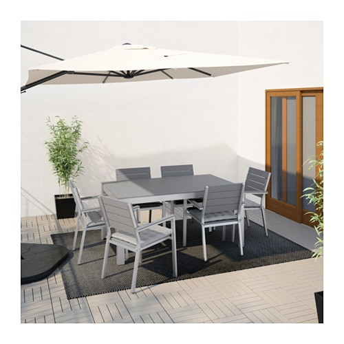 falster table 6 chairs w armrests outdoor grey h ll grey. Black Bedroom Furniture Sets. Home Design Ideas