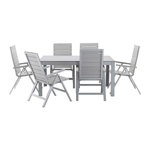 IKEA FALSTER table+6 reclining chairs, outdoor