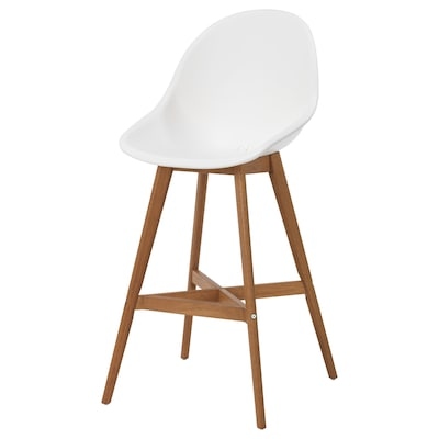 FANBYN Bar stool with backrest, white/in/outdoor, 64 cm