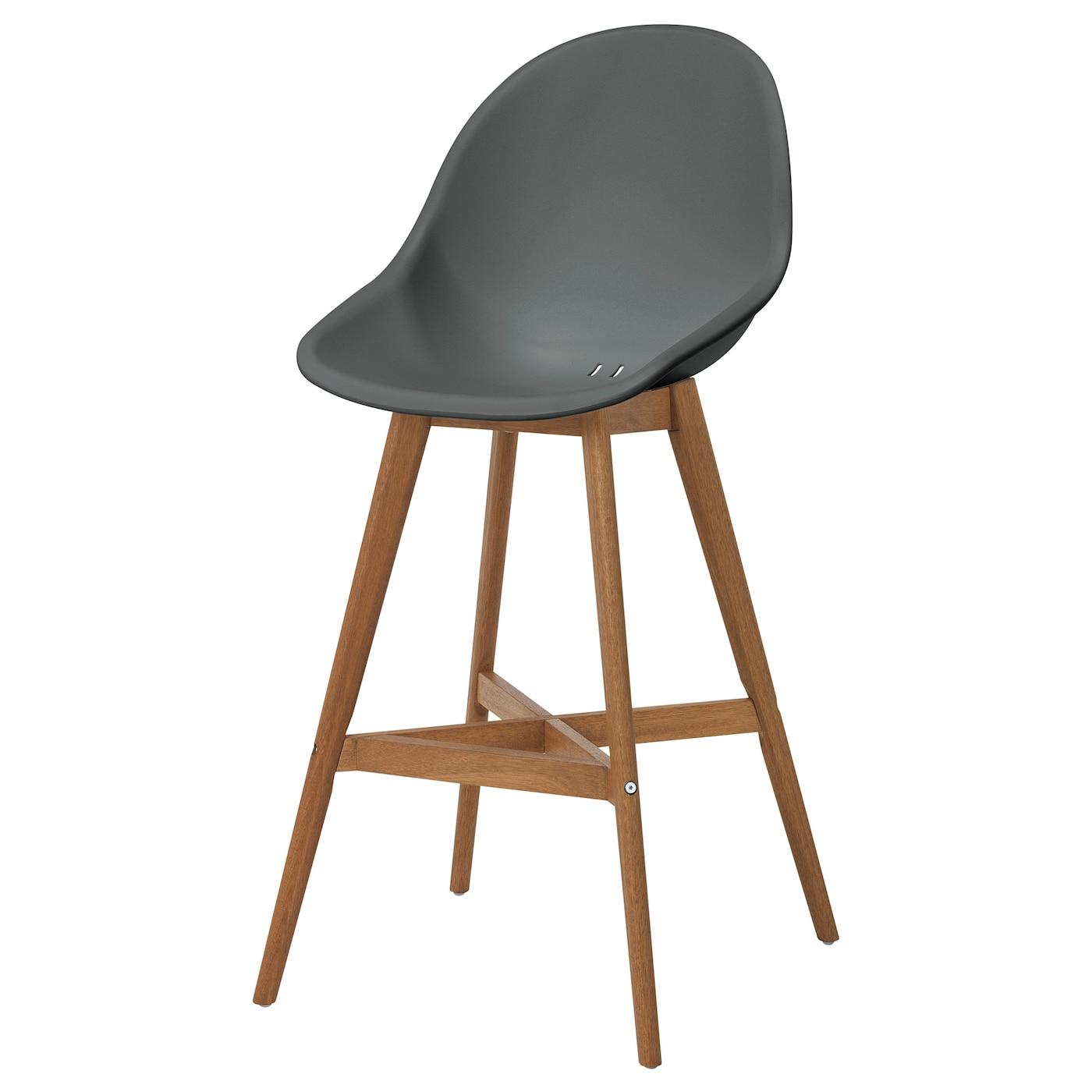 fanbyn bar stool with backrest grey ikea
