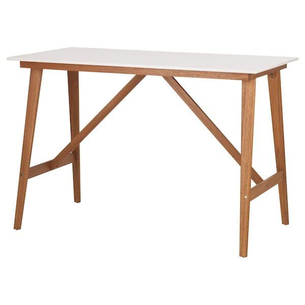 FANBYN Bar table, white, 140x78x95 cm