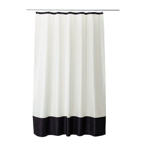 FÄRGLAV Shower curtain IKEA Densely-woven polyester fabric with water-repellent coating.
