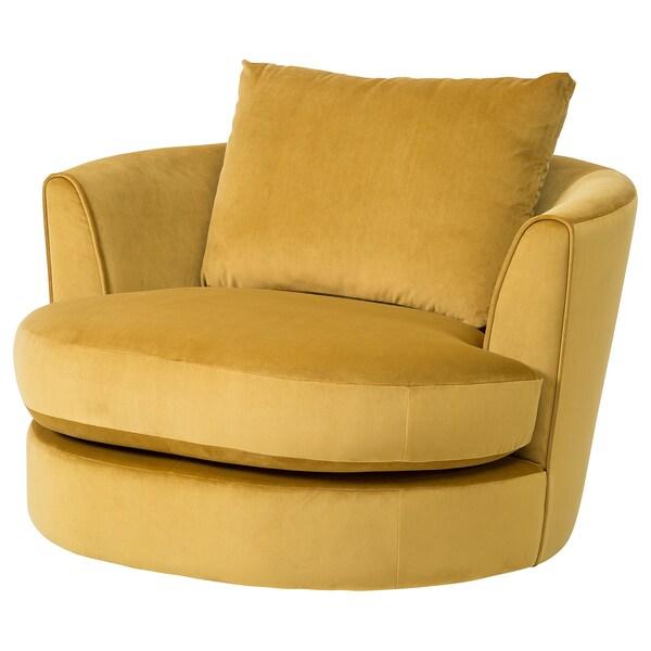 Fasalt Velvet Yellow Swivel Armchair