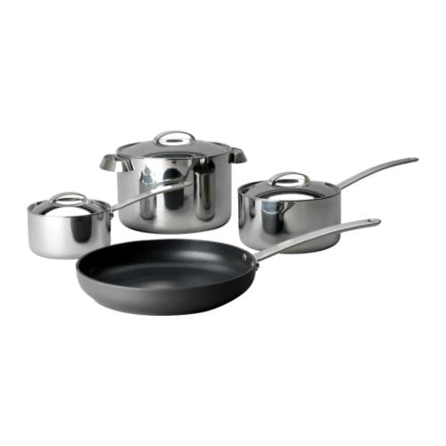 FAVORIT 7-piece cookware set IKEA Works well on all types of hobs, including induction hob.  Made all in metal; safe to use in the oven.