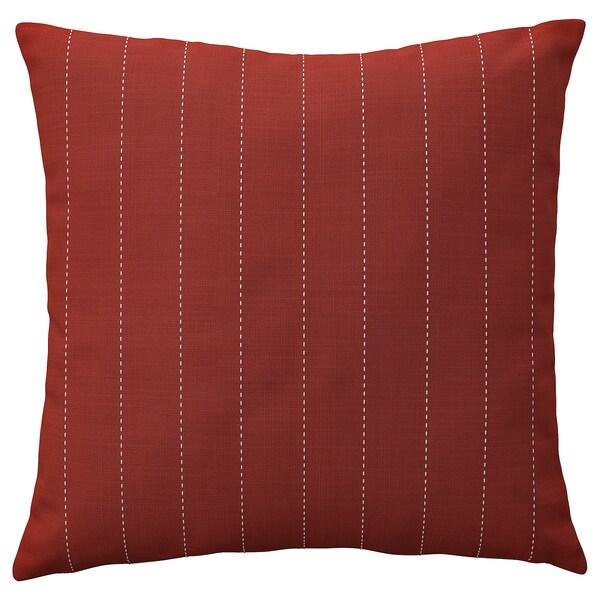 FESTHOLMEN Cushion cover, in/outdoor, red/light grey-beige, 50x50 cm
