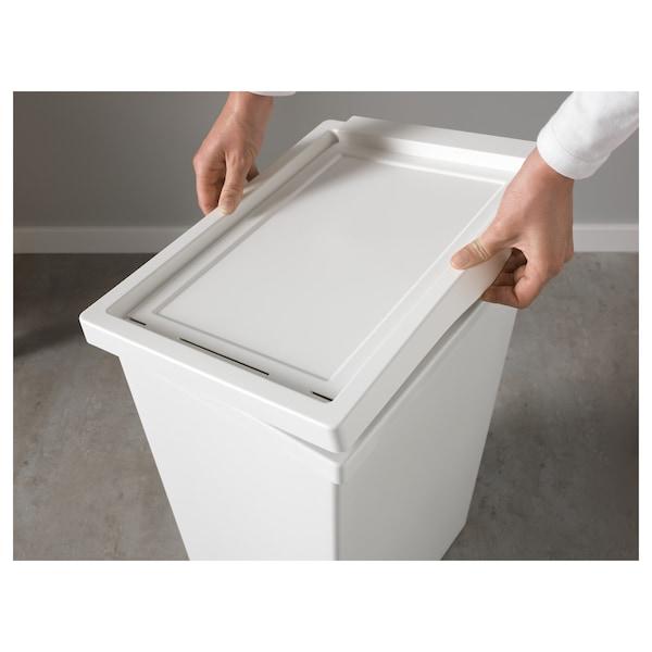 FILUR Bin with lid, white, 42 l