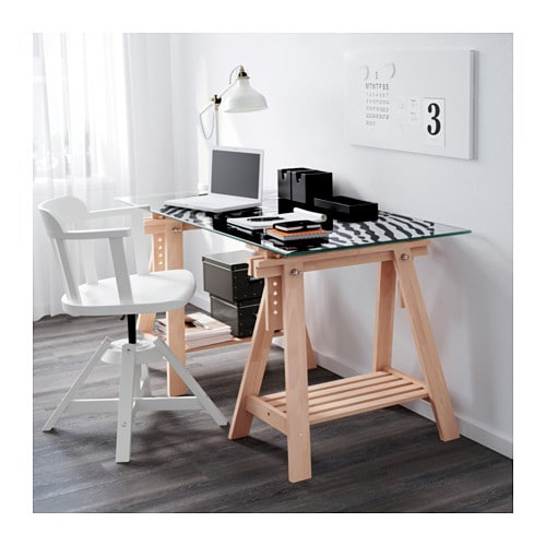 IKEA FINNVARD trestle with shelf Solid wood is a durable natural
