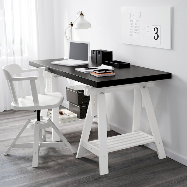 FINNVARD Trestle with shelf, white, 70x71/93 cm