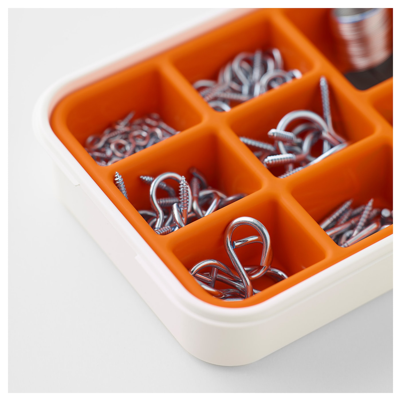 IKEA FIXA 102-piece hooks and hanging set Can be stacked with other boxes in the FIXA series.