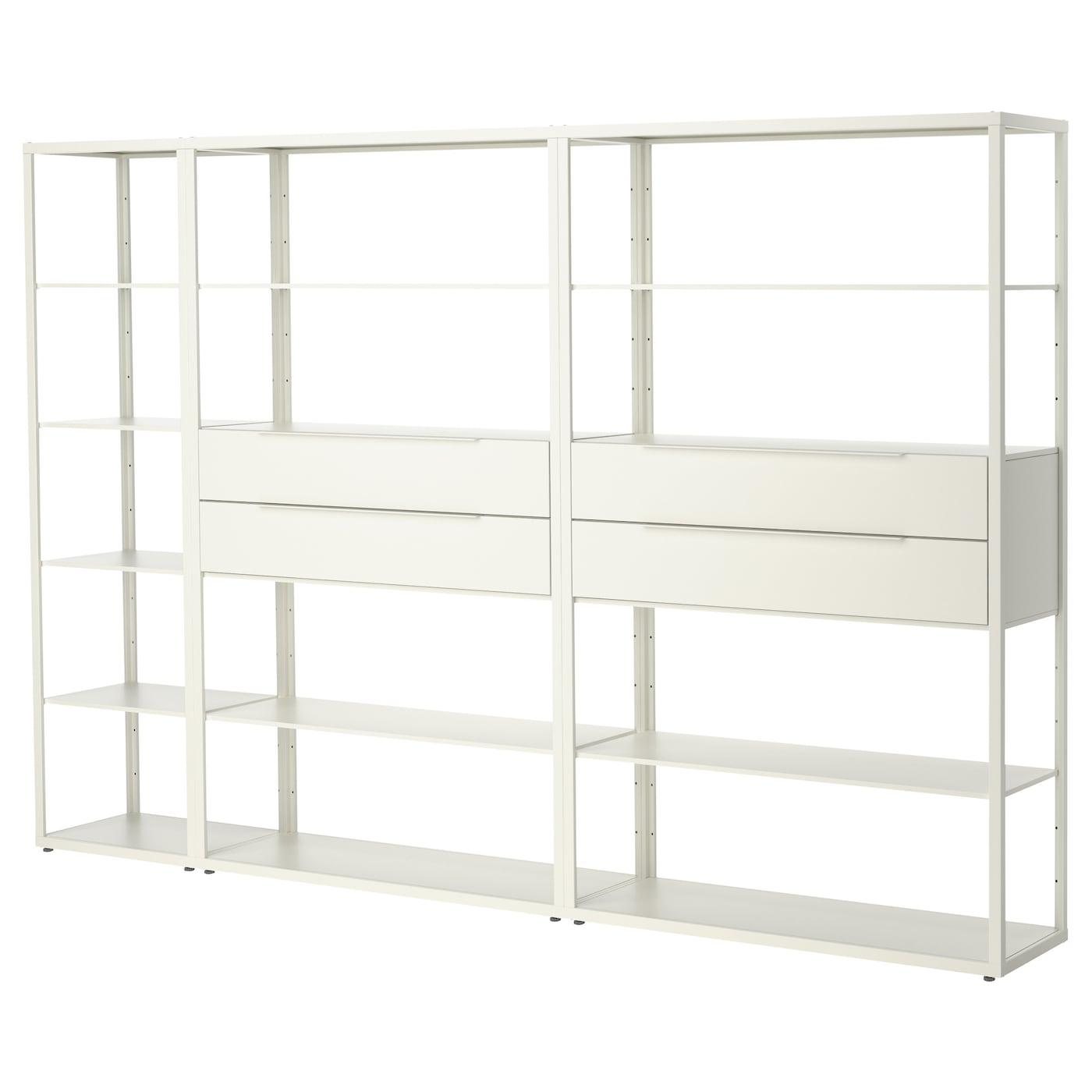 fj lkinge shelving unit with drawers white 294x193 cm ikea. Black Bedroom Furniture Sets. Home Design Ideas