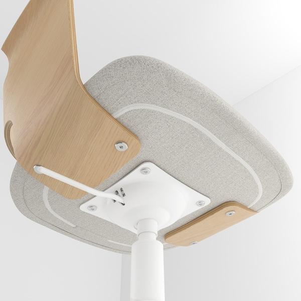 FJÄLLBERGET Conference chair, white stained oak veneer/Gunnared beige