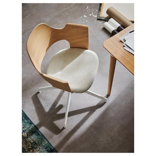 FJÄLLBERGET conference chair white stained oak veneer/Gunnared beige 110 kg 67 cm 67 cm 86 cm 42 cm 40 cm 43 cm 56 cm