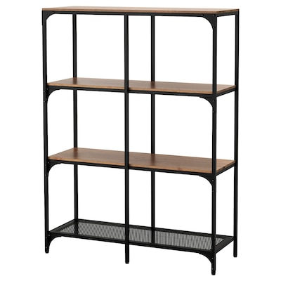 FJÄLLBO Shelving unit, black, 100x136 cm