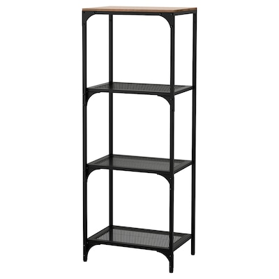 FJÄLLBO Shelving unit, black, 51x136 cm