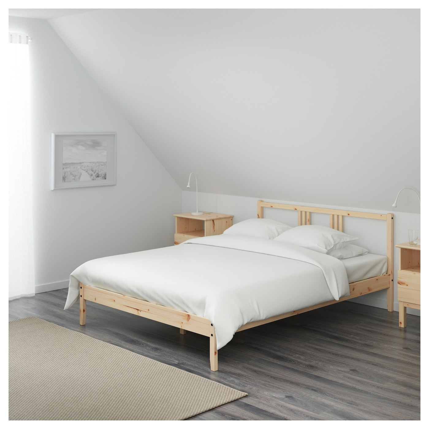 IKEA FJELLSE bed frame Made of solid wood, which is a hardwearing and warm natural material.