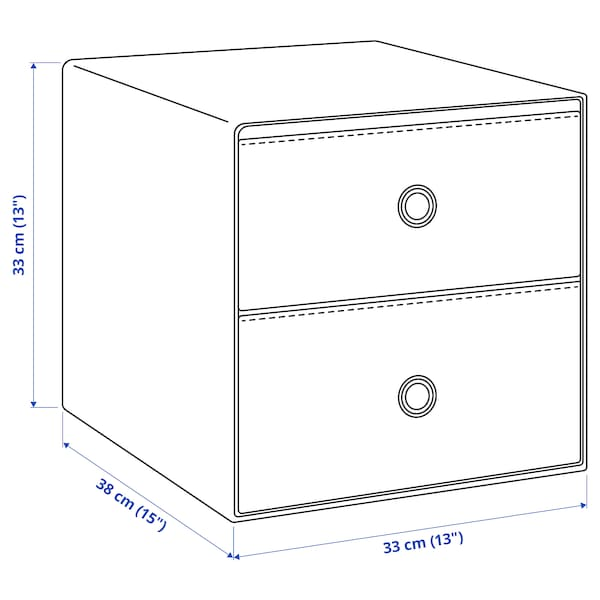FLARRA Mini chest with 2 drawers, black, 33x38 cm