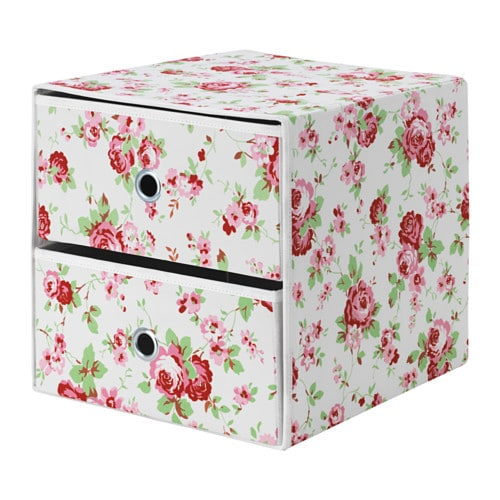 Flarra Mini Chest With 2 Drawers Floral Patterned 33x38 Cm