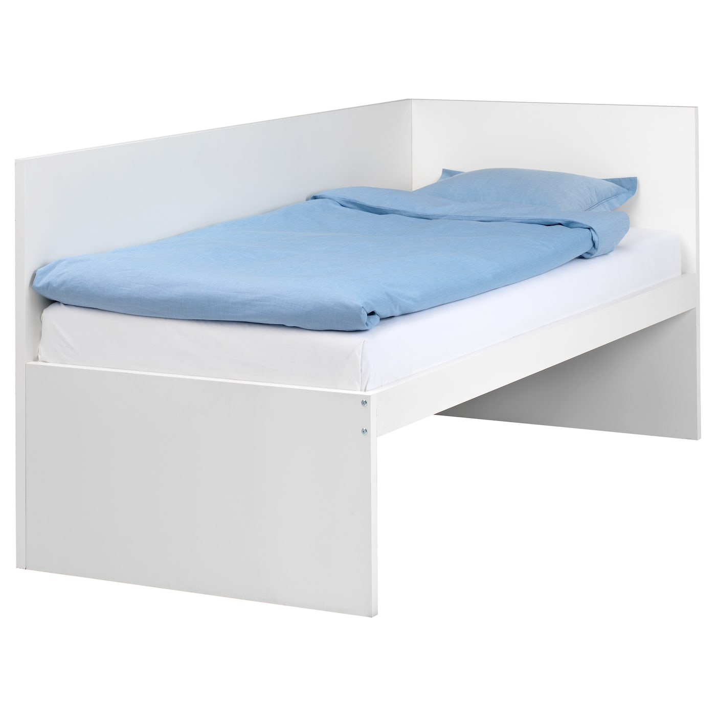 Flaxa bed frm w headboard slatted bd base white 90x200 cm for Lit 80x190 but