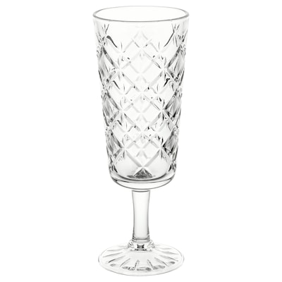 FLIMRA Champagne glass, clear glass/patterned, 19 cl