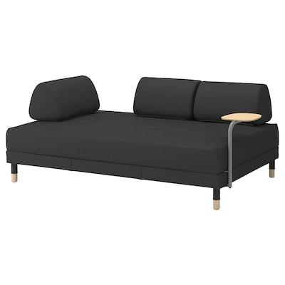FLOTTEBO sofa-bed with side table Vissle dark grey 79 cm 200 cm 120 cm 79 cm 92 cm 46 cm 120 cm 200 cm
