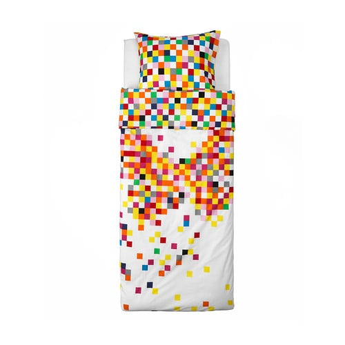 IKEA FLYGA quilt cover and pillowcase Cotton, soft and nice against your child's skin.
