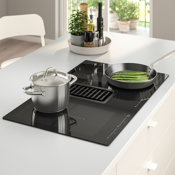 FÖRDELAKTIG Induction hob/integrated extractor, black, 83 cm