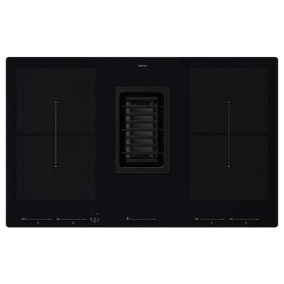 FÖRDELAKTIG Induction hob/integrated extractor, black, 83 cm