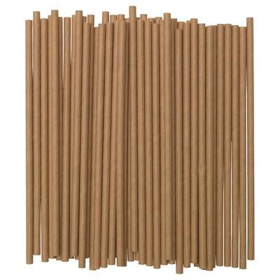 FÖRNYANDE drinking straw paper/brown 100 pack
