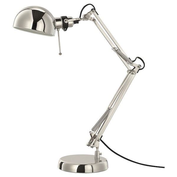 FORSÅ Work lamp, nickel-plated