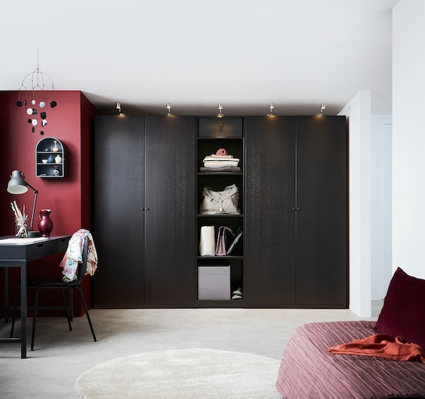 FORSAND Door, black-brown stained ash effect, 50x195 cm