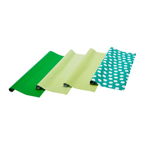 FRAMSTÄLLA  Gift wrap roll, assorted patterns green