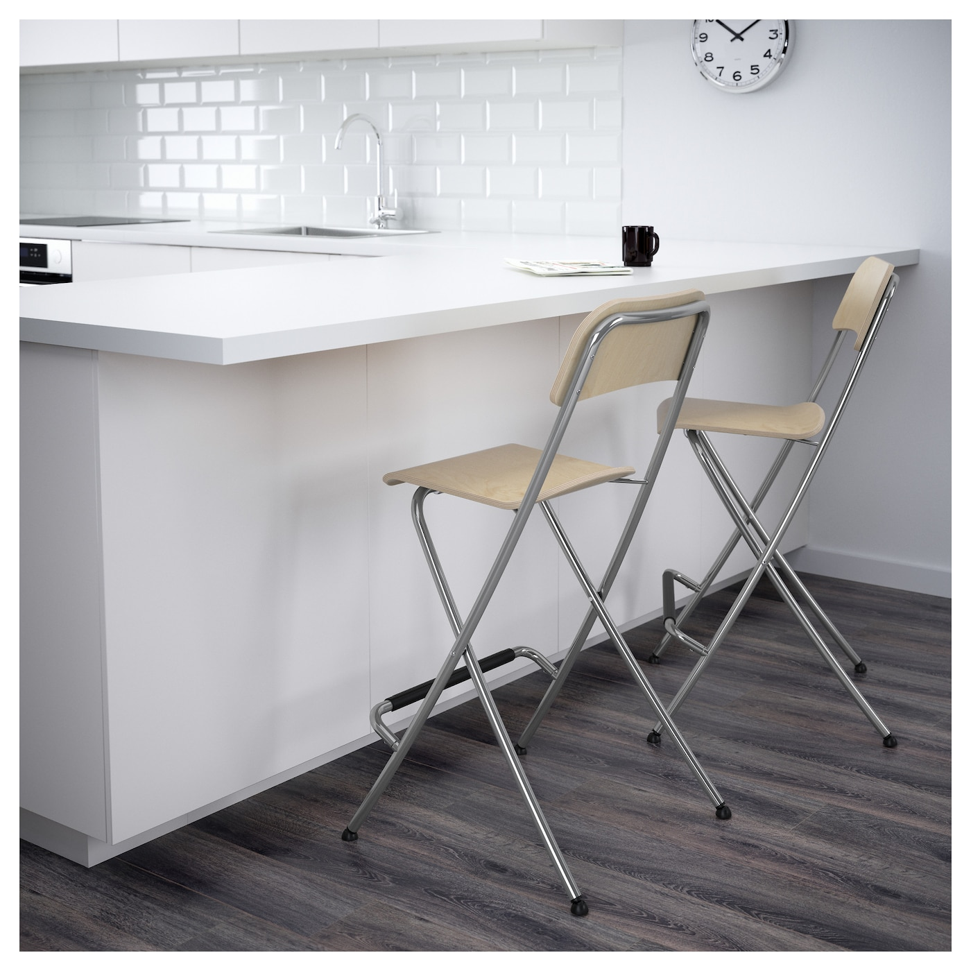 Marvelous IKEA FRANKLIN Bar Stool With Backrest, Foldable With Footrest For Relaxed  Sitting Posture.