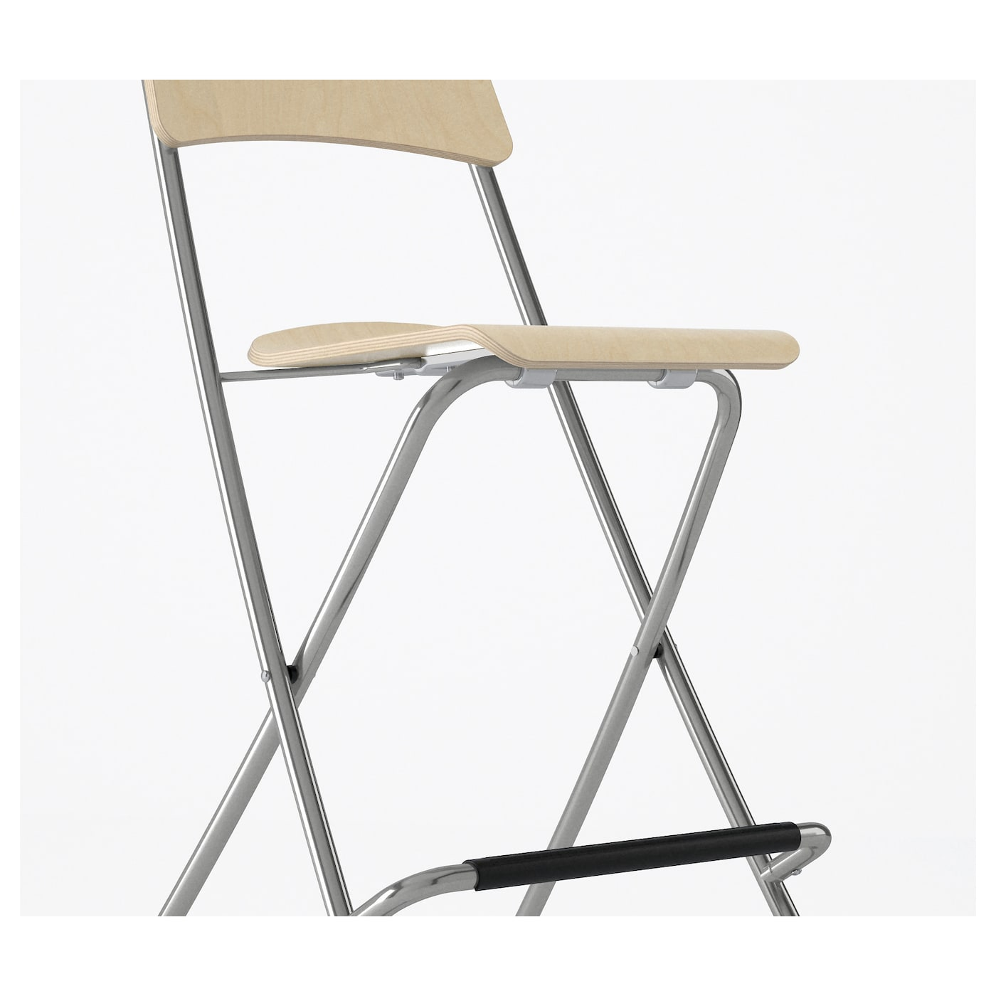 FRANKLIN Bar stool with backrest foldable Birch veneer silver