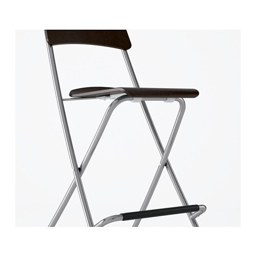 FRANKLIN Bar Stool With Backrest Foldable Brown Black Silver Colour 63 Cm