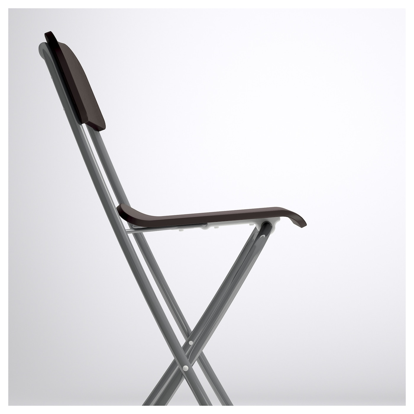 FRANKLIN Bar stool with backrest foldable Brown black silver