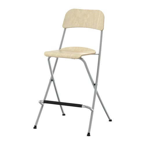 FRANKLIN Bar stool with backrest, foldable IKEA Folds flat; space-saving when not in use.  With footrest for relaxed sitting posture.