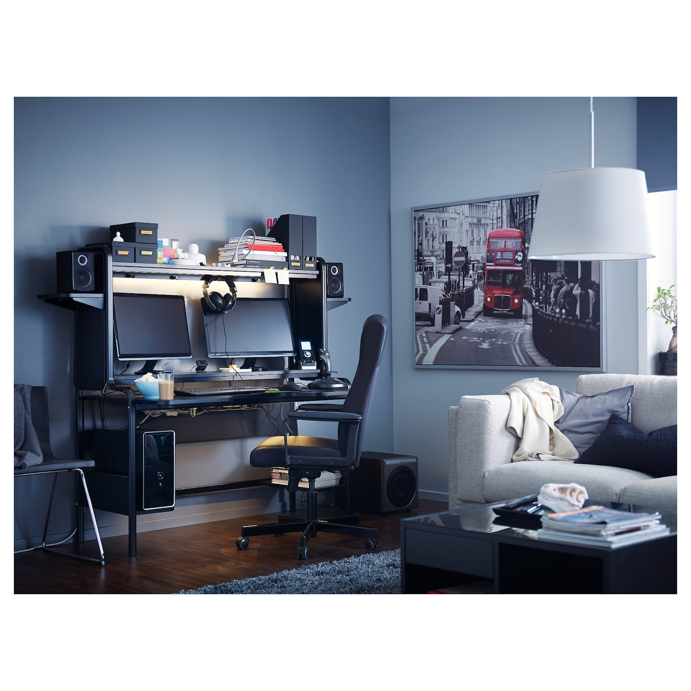 Fredde Workstation Black 185x146x74 Cm Ikea