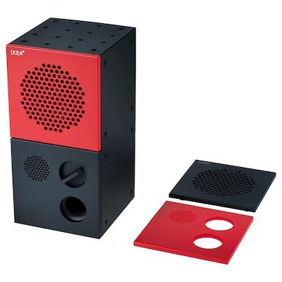 FREKVENS Speaker, black/red, 10x20 cm