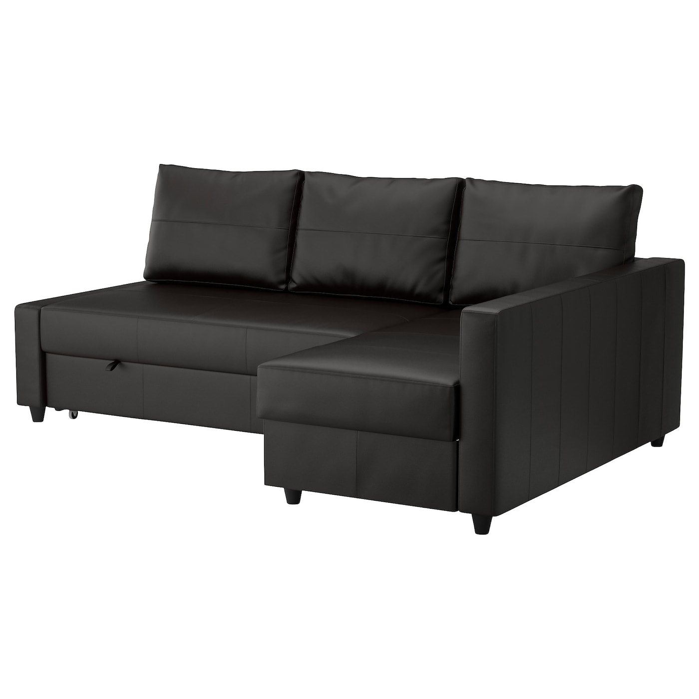 Friheten corner sofa bed with storage bomstad black ikea for Chaise bed sofa