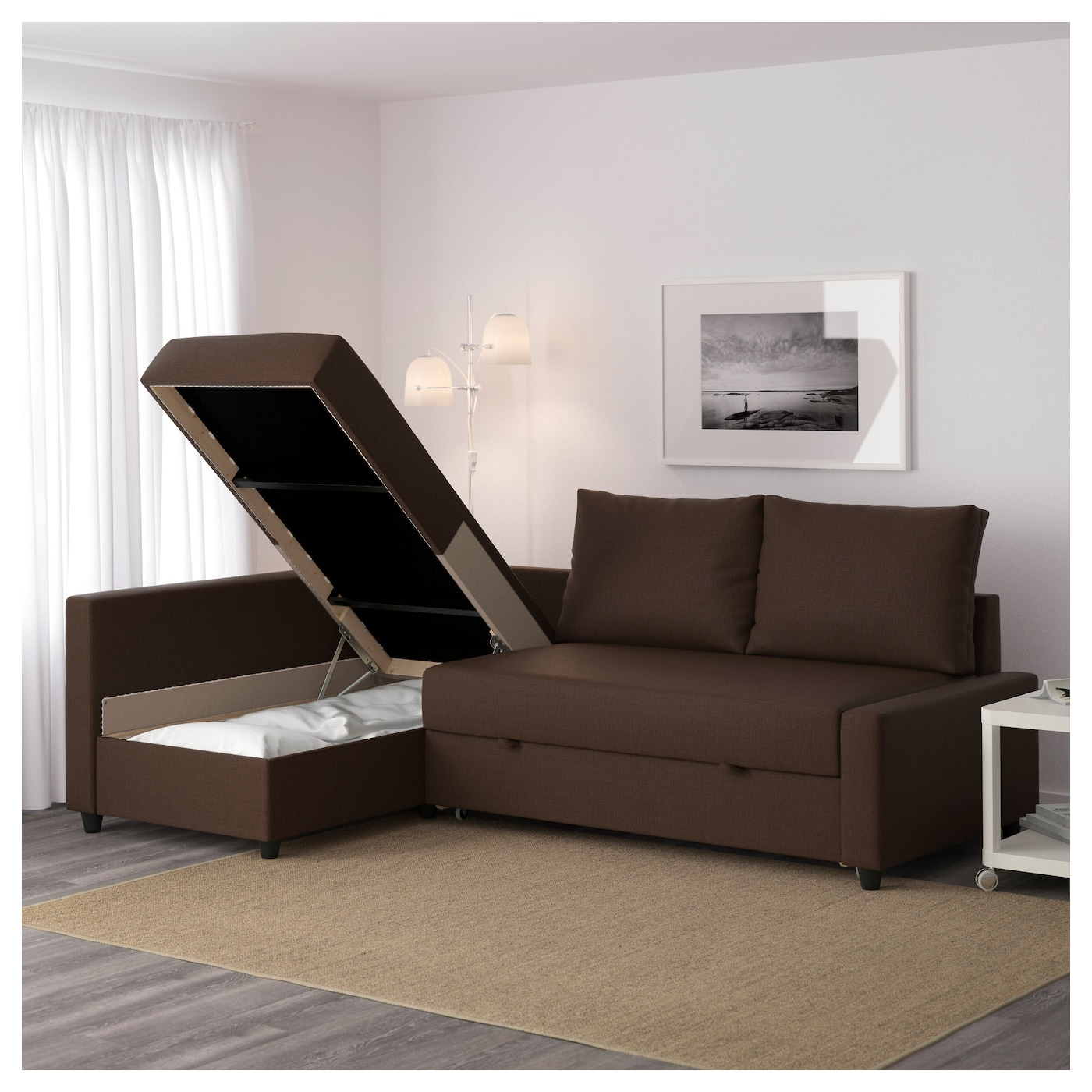 Ordinaire IKEA FRIHETEN Corner Sofa Bed With Storage Sofa, Chaise Longue And Double  Bed In