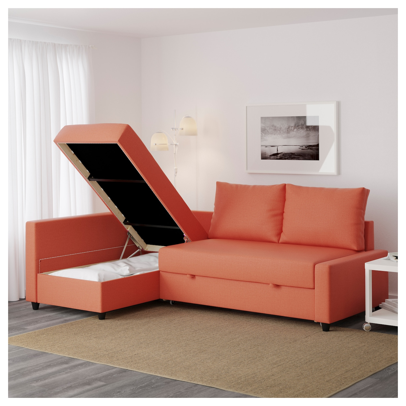 Friheten corner sofa bed with storage skiftebo dark orange for Sofas rinconeras ikea