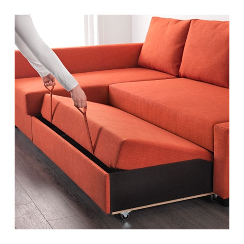 Sofa Bed friheten corner sofa-bed with storage skiftebo dark orange - ikea