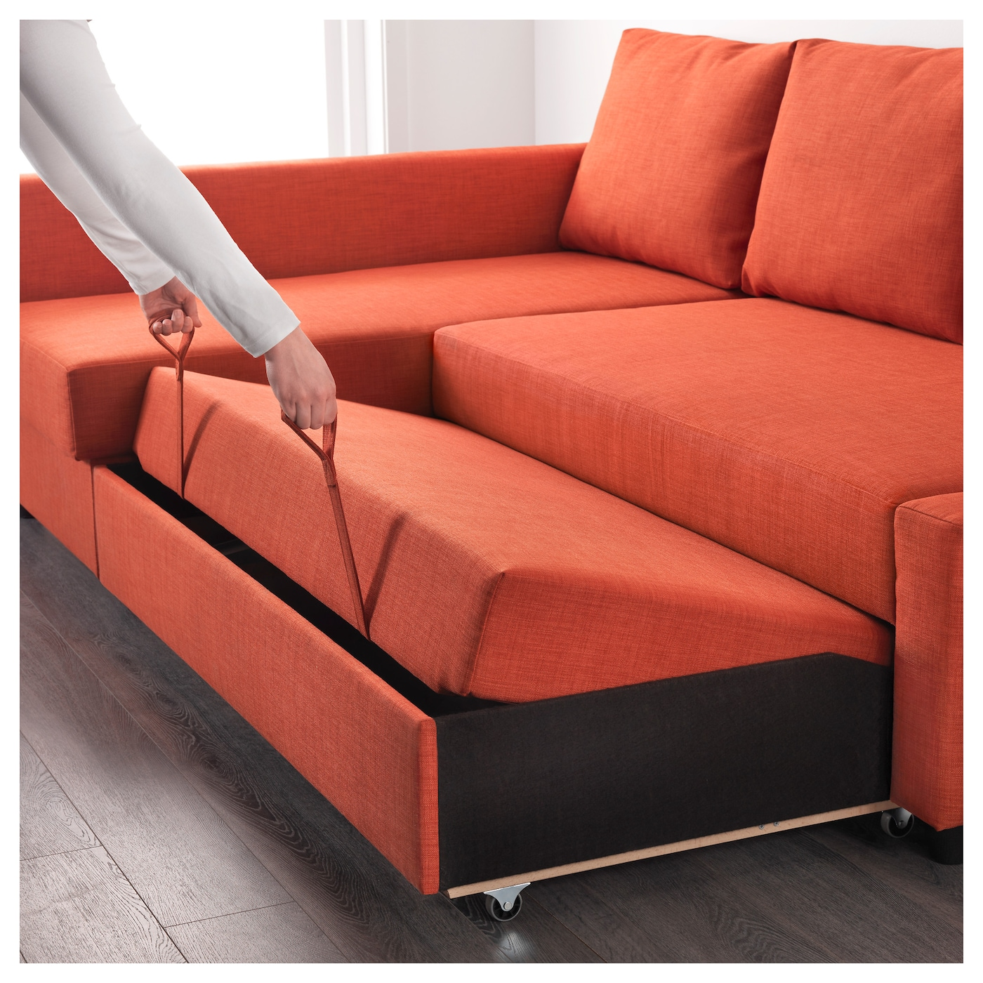 Friheten corner sofa bed with storage skiftebo dark orange ikea Couch and bed