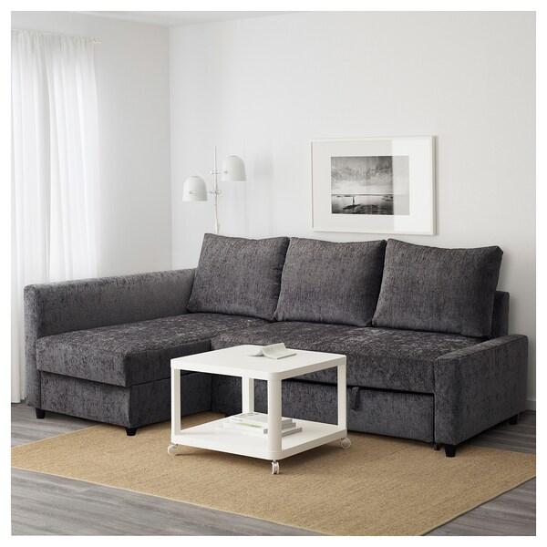 Corner sofa-bed with storage FRIHETEN dark grey