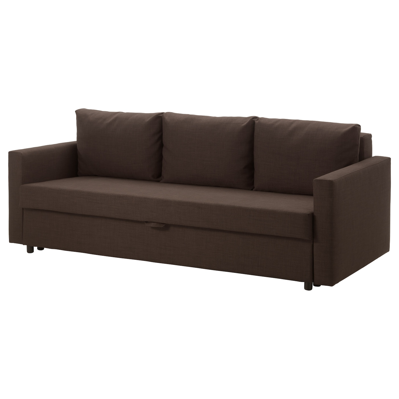 Friheten three seat sofa bed skiftebo brown ikea for Sofa cama clic clac ikea