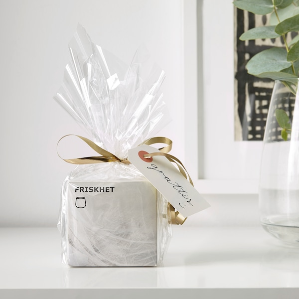 FRISKHET scented candle in glass Linen breeze/white 7.5 cm 7 cm 25 hr