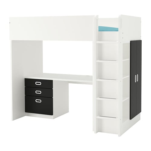 Fritids Stuva Loft Bed Combo W 3 Drawers 2 Doors White Blackboard